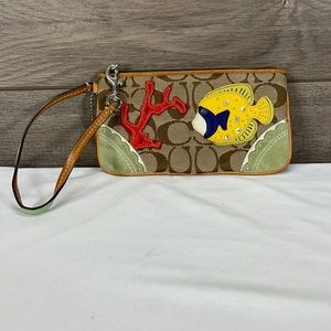 Coach Limited Edition Yellow Fish Wallet Wristlet